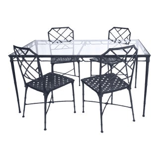 Vintage Brown Jordan 5-Piece Calcutta Faux Bamboo Patio Dining Set, 5 Pcs For Sale