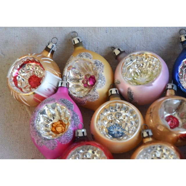 "Set of 12 vintage hand-decorated glass Christmas tree ornaments with box. No maker's mark. Ornaments, 1.75""Dia x 2.25""H;..."
