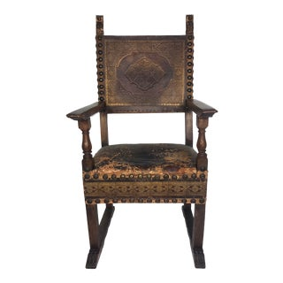 19th Century Carved Walnut Throne Armchair With Tooled Leather and Talon Feet For Sale