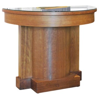 Neoclassical Style Cherry Architectural Entry Table With Protective Glass For Sale