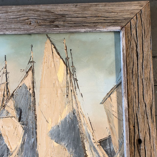 1970s Original Vintage Sail Boats in Harbor Seascape Painting For Sale - Image 5 of 7
