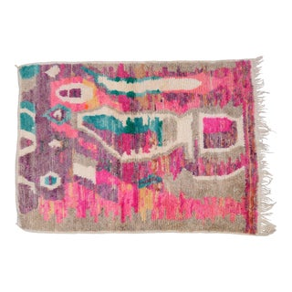 Moroccan Boho Chic Hand Made Pure Wool Pink and Green Rug - 4′4″ × 5′8″ For Sale