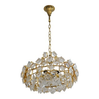 Mid-Century Modern Palme and Walter Chandelier Cut Crystal and Gold Plate For Sale