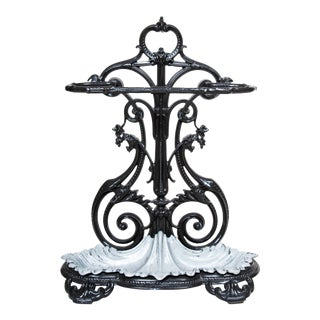19th Century Victorian Ornate Cast Iron Umbrella Stand With Insert, Decorative Room Accessory, Practical, Useful, With Original Drip Pan For Sale