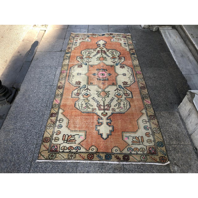 1960s Vintage Anatolian Floral Rug- 3′8″ × 7′9″ For Sale - Image 11 of 11