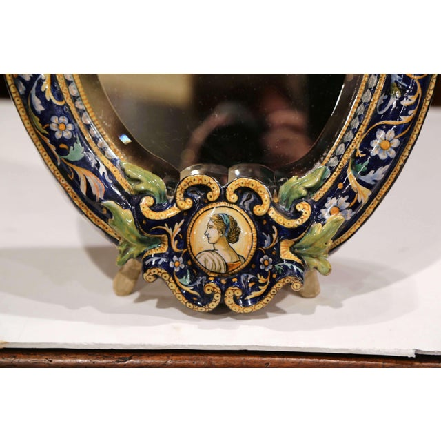 19th Century French Painted Ceramic Vanity Mirror With Cherub and Eagle Figures For Sale - Image 4 of 10