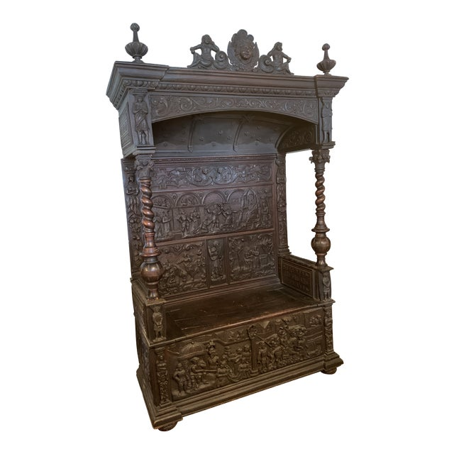16th Century Antique High Gothic Pictorial Bench For Sale