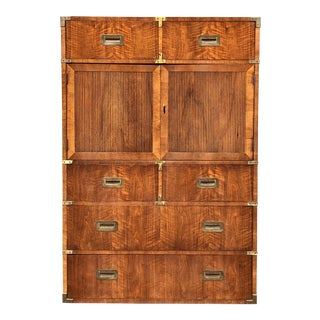 20th Century Campaign Henredon Tallboy Dresser For Sale