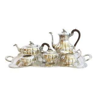 """Old English Melon"" Silver Tea and Coffee Set - 7 Piece Set For Sale"