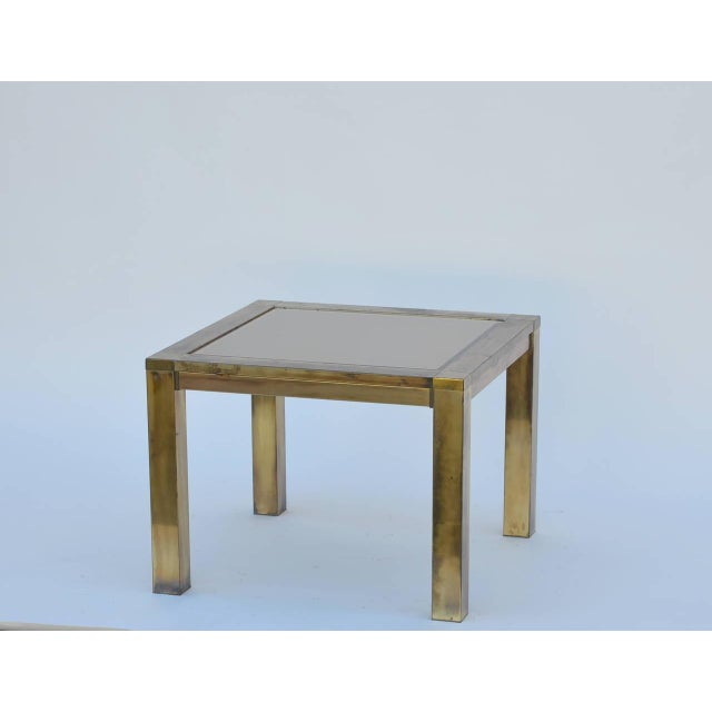 French 1960s French Patinated Brass and Bronze Mirrored Side Table For Sale - Image 3 of 6