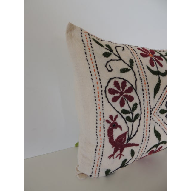 Vintage Indian colorful floral embroidered decorative bolster pillow. Green and red hand embroidered pillow. Same linen...