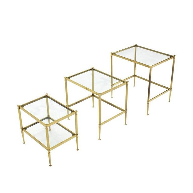 Set of Three Mid-Century Modern Brass Nesting End Tables For Sale - Image 4 of 9