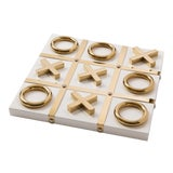 Image of White Lacquer Tic Tac Toe Set with Gold Pieces For Sale