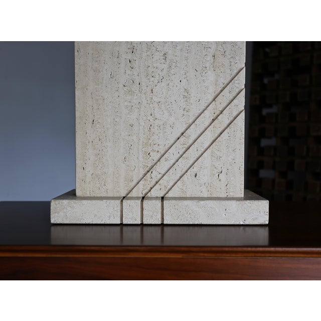 Modernist Travertine Lamps Circa 1980 - a Pair For Sale - Image 4 of 13