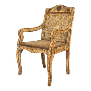 Neoclassic Cork & Twig Arm Chair For Sale