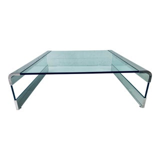 Leon Rosen Polished Chrome and Glass Waterfall Coffee Table for Pace Collection For Sale