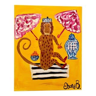 Abstract Chinoiserie Monkey Painting For Sale