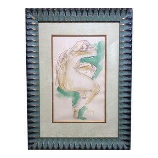 Framed Original Nude Watercolor Painting For Sale