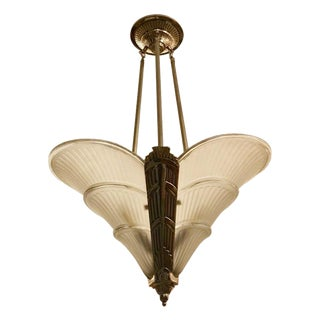 French Art Deco Ribbed Chandelier For Sale