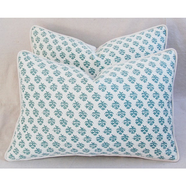 Pair of large custom-made Italian Mariano Fortuny pillows. Pillow fronts are a vintage/never used Egyptian cotton fabric...