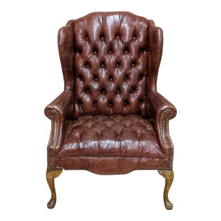 Mid Century Faux Leather Chesterfield Tufted Wingback Chair For Sale