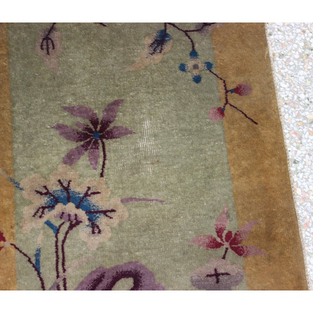 Yellow Antique 1924 Nichols Wool Rug Tientsin North China Flowers Motif For Sale - Image 8 of 10