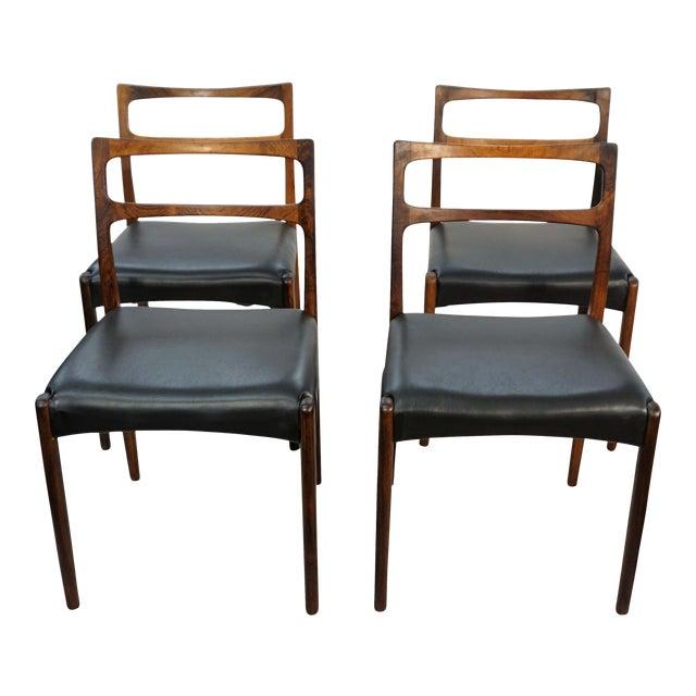 Original Danish Mid Century Johannes Andersen Rosewood Dining Chairs - Set of 4 For Sale