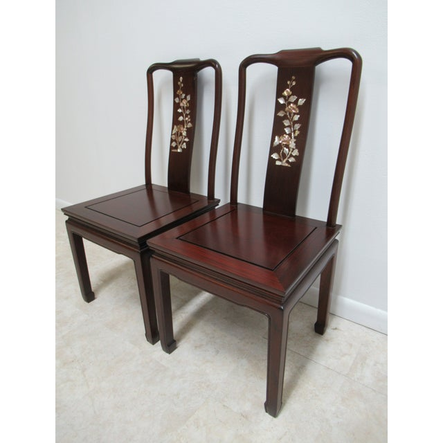 1970s Vintage Chinese Chippendale Rosewood Mother of Pearl Dining Room Chairs - A Pair For Sale In Philadelphia - Image 6 of 12