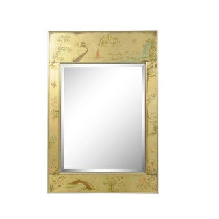 Labarge Chinoiserie Style Gold Églomisé Reverse Painted Wall Mirror, Signed For Sale