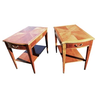 1960s Mid-Century Modern Fruitwood Parquet Top Side Tables - a Pair For Sale