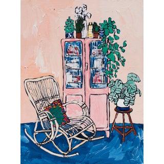 Rocking Chair and Pink Cabinet in Peach Interior Original Lara Meintjes Painting