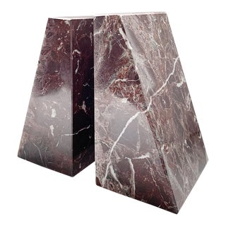 Vintage Maroon Marble Bookends - a Pair For Sale