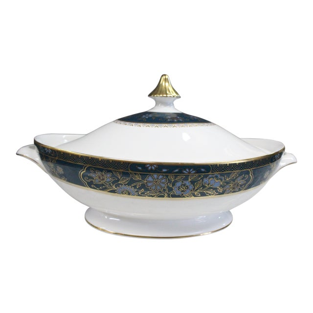 Mid 20th Century Royal Doulton Gold and Turquoise Accent Tureen For Sale