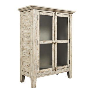 Distressed Cream Rustic Accent Cabinet