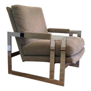 1980s Vintage Milo Baughman for Thayer Coggin Chrome Lounge Chair For Sale