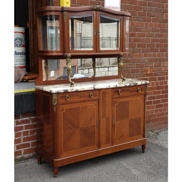 1950s French Louis XVI Style Walnut & Marble Top Dinning Room Hallway Cabinet For Sale - Image 11 of 13