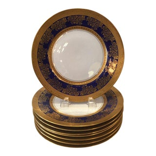 1920s Gold and Cobalt Blue Dinner Plates Royal Doulton - Set of 8 For Sale