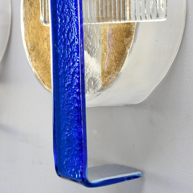 Murano Glass Gold and Cobalt Wall Sconces - Pair For Sale - Image 9 of 11
