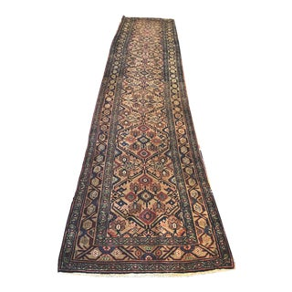 Early 20th Century Antique Persian Bibikabad Hallway Runner Rug - 3′4″ × 15′10″ For Sale