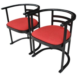Pair of Vintage Thonet Josef Hoffmann Style Bauhaus Chairs For Sale