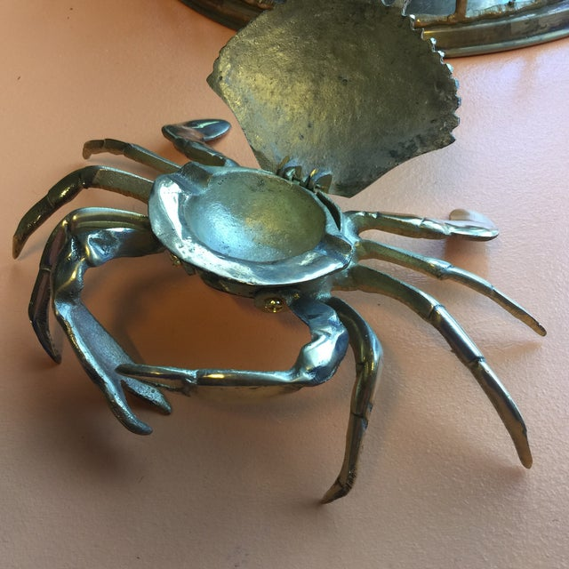Coastal Brass Crab Ashtray For Sale - Image 4 of 5