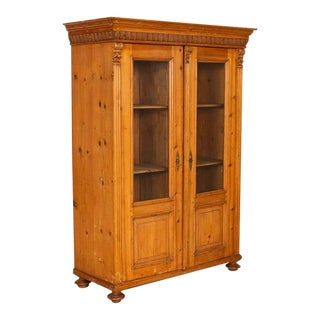Antique Pine Bookcase Cabinet With Glass Doors For Sale