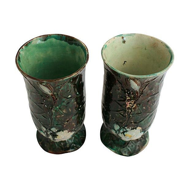 Antique Holdcroft Majolica Vases - a Pair - Image 4 of 6