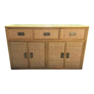 Chinoiserie Bamboo Credenza Cabinet For Sale