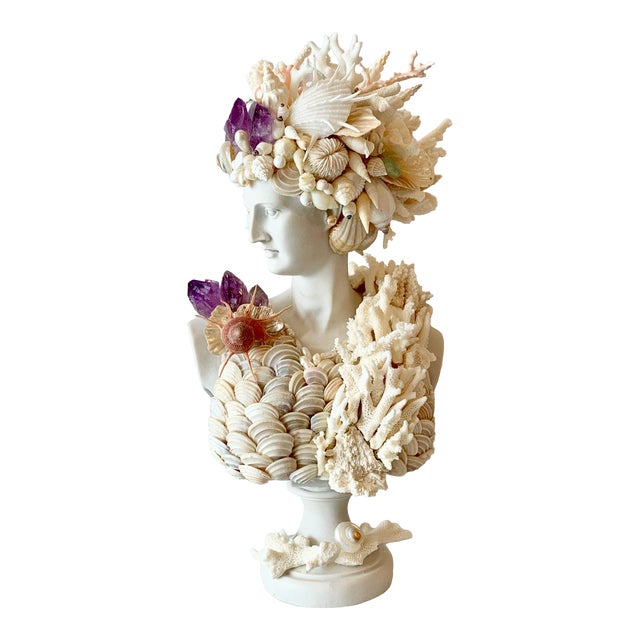 Greek Artemis in Shells Corals and Amethyst Sculpture For Sale