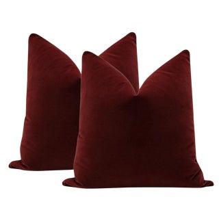 "22"" Oxblood Velvet Pillows - a Pair For Sale"