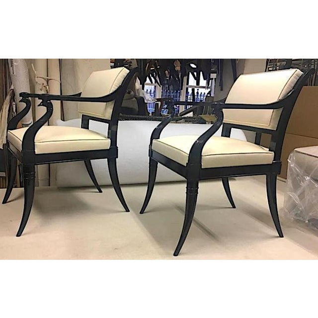 1950s Maison Jansen Chicest Black Neoclassic Exceptional Pair of Armchairs For Sale - Image 5 of 8