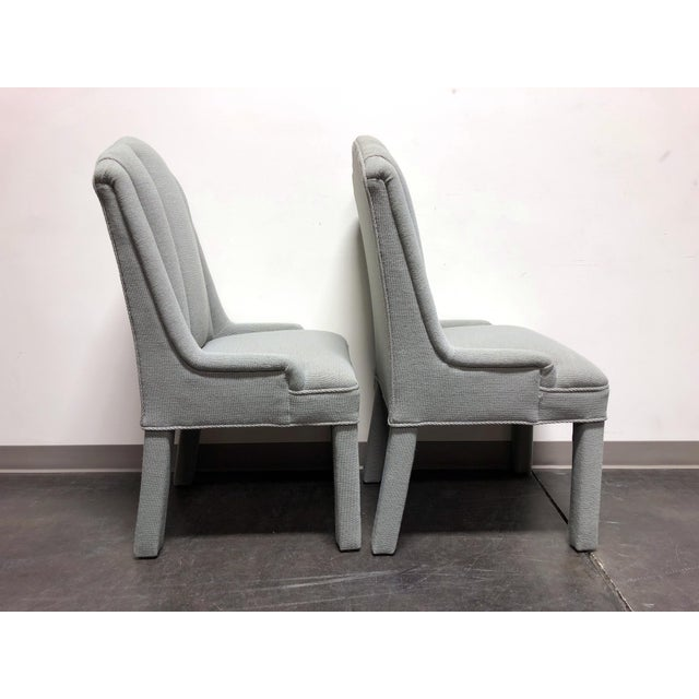 1980s High-End Grey Channel Back Parsons Chairs - Pair 3 For Sale - Image 5 of 12