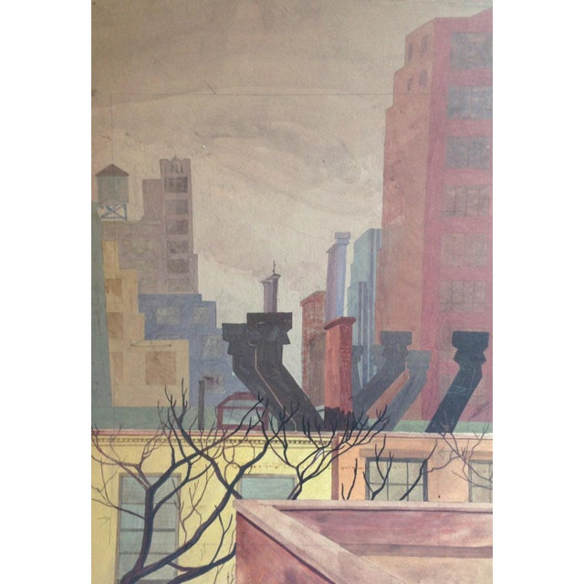 Yellow Original Mid-Century Rooftops Painting For Sale - Image 8 of 8