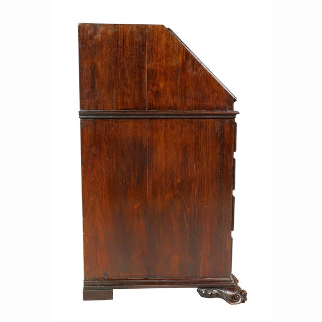 Portuguese Colonial Brazilian Solid Rosewood Slant Lid Writing Desk For Sale - Image 10 of 13